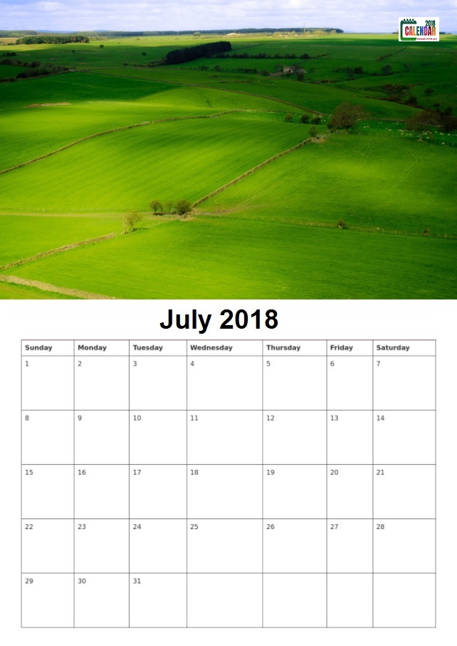 Personalized July 2018 Desk Calendar