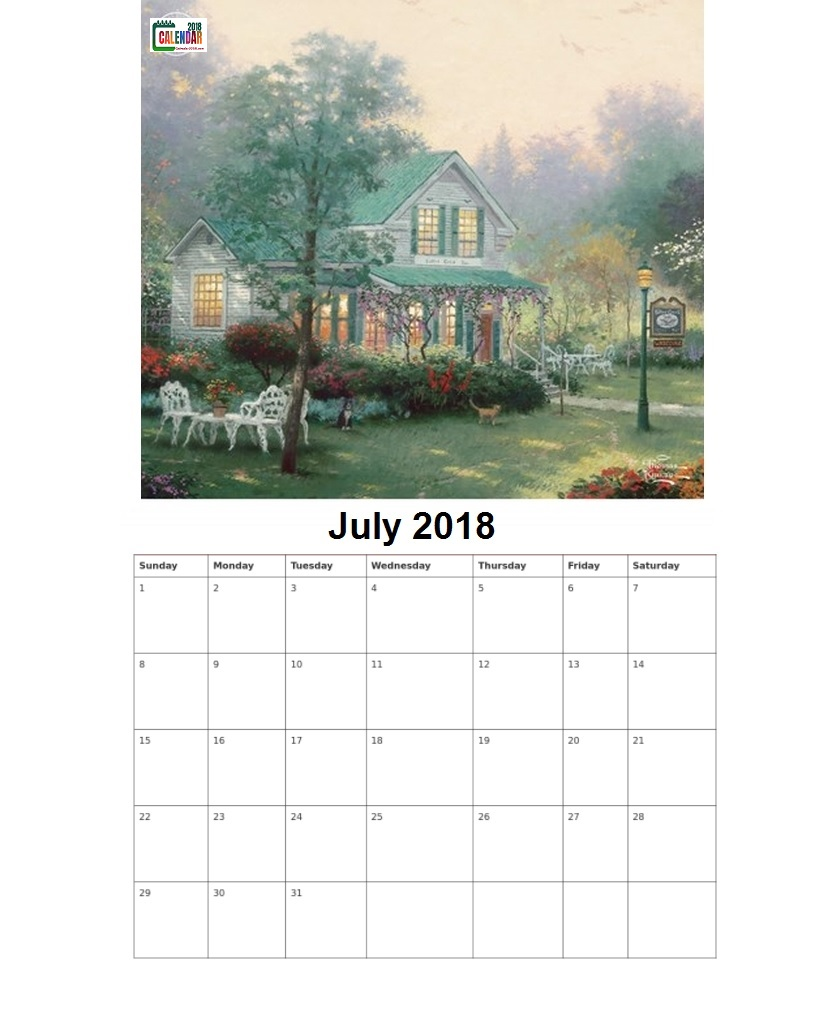 Personalized July 2018 Monthly Calendar