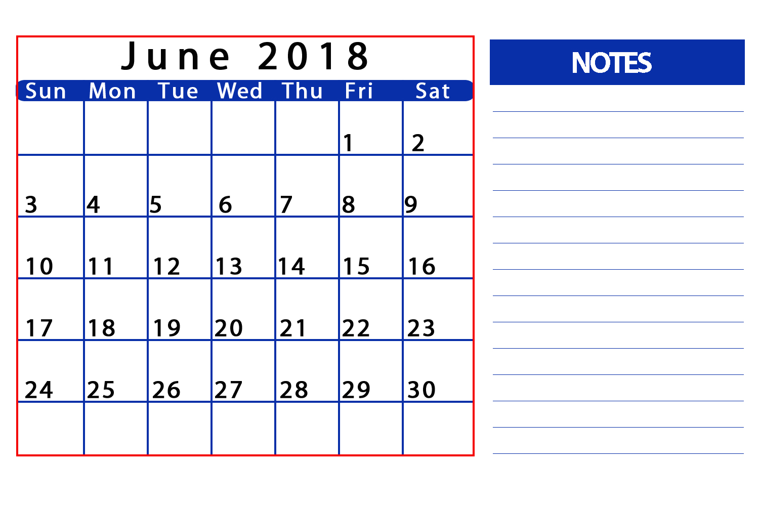 Personalized June 2018 Calendar Template