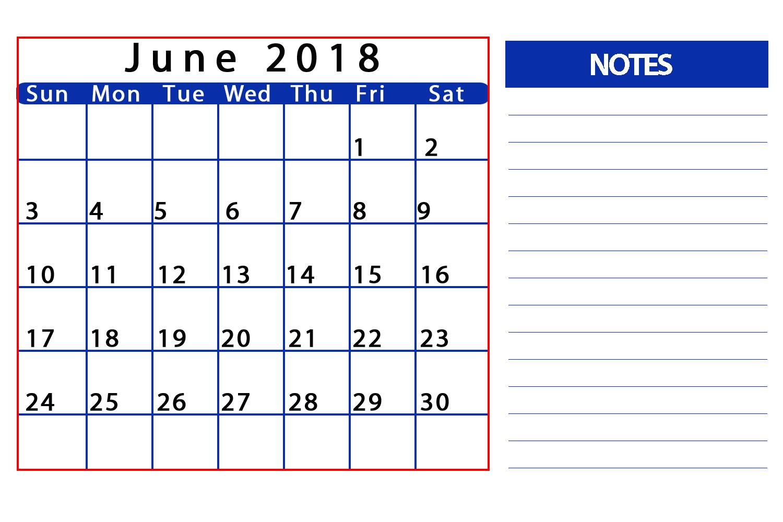 Personalized June 2018 Calendar Template