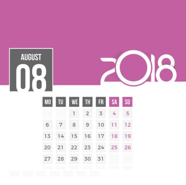 Print August 2018 Desk Calendar