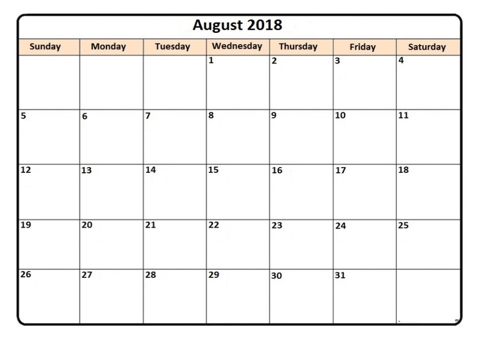 Printable August 2018 Calendar Download