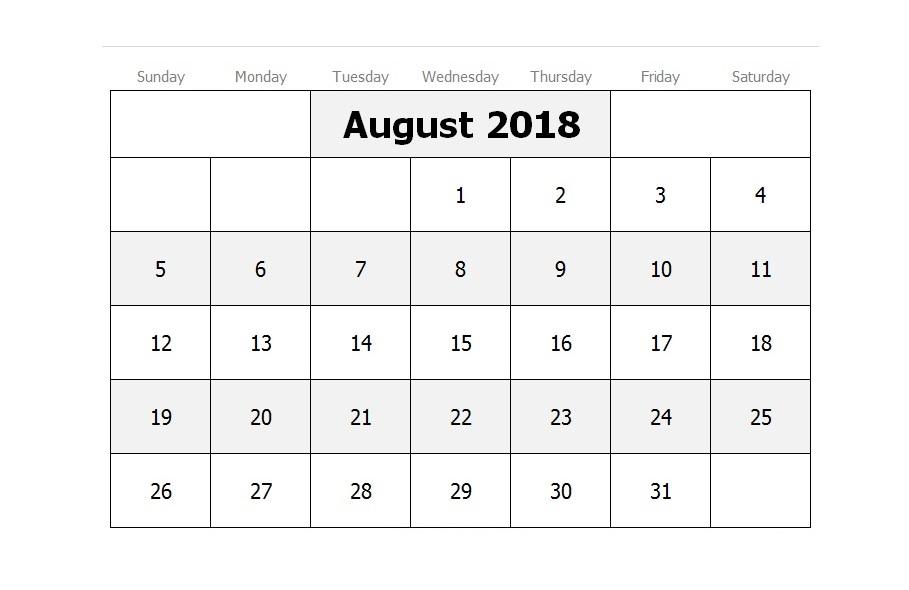 Printable August 2018 Calendar HD
