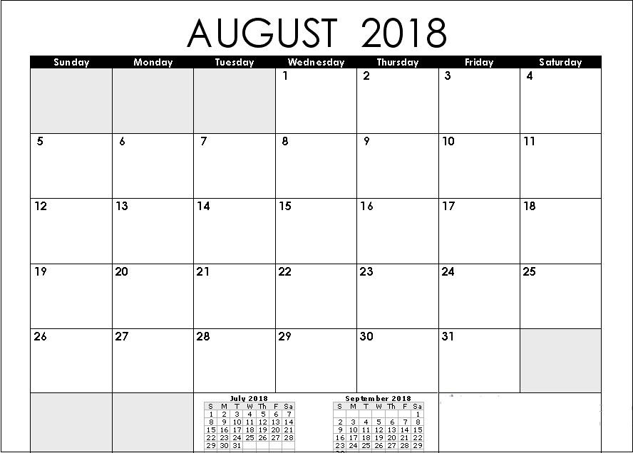 Printable August 2018 Calendar Planner
