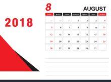 Printable August 2018 Desk Calendar