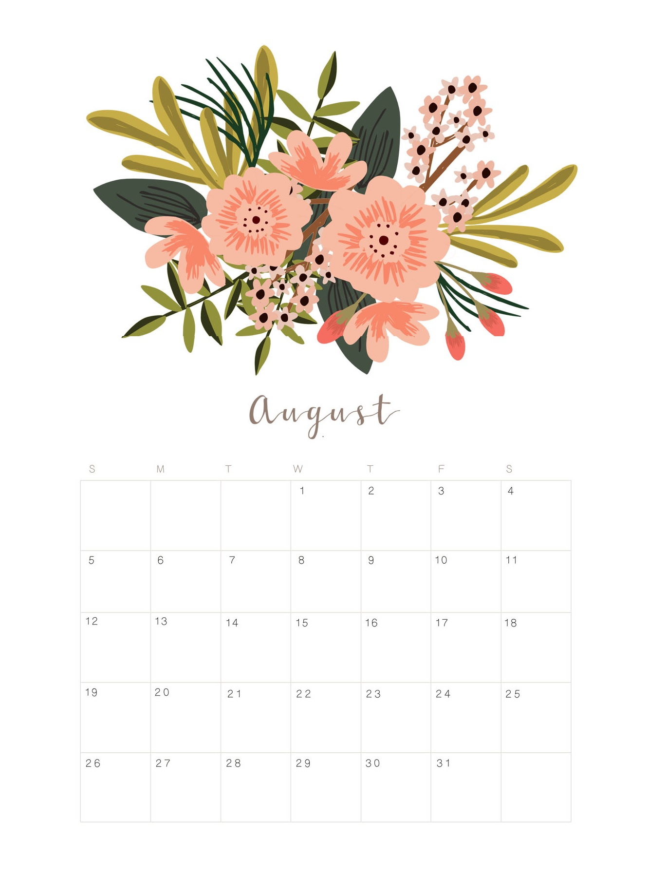 Printable August 2018 Floral Calendar