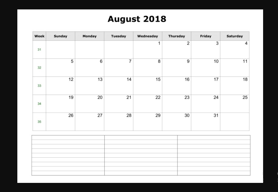 Printable August 2018 Monthly Calendar