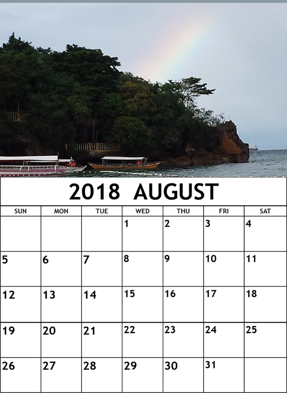 Printable August 2018 Personalized Calendar