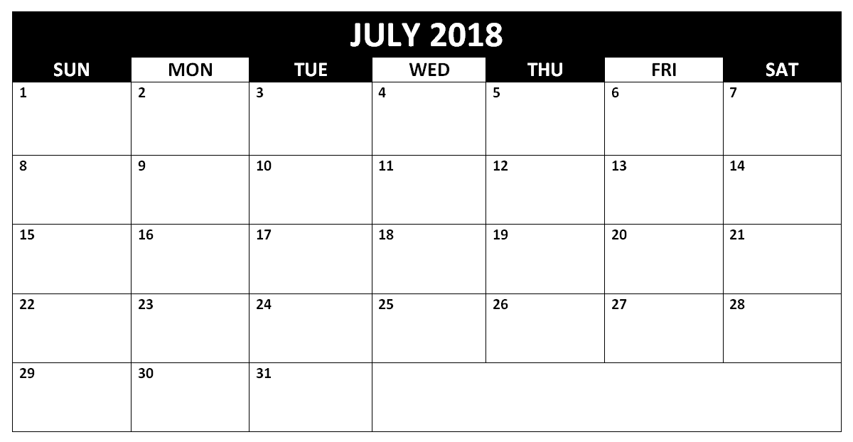 Printable Blank Calendar 2018 July Template