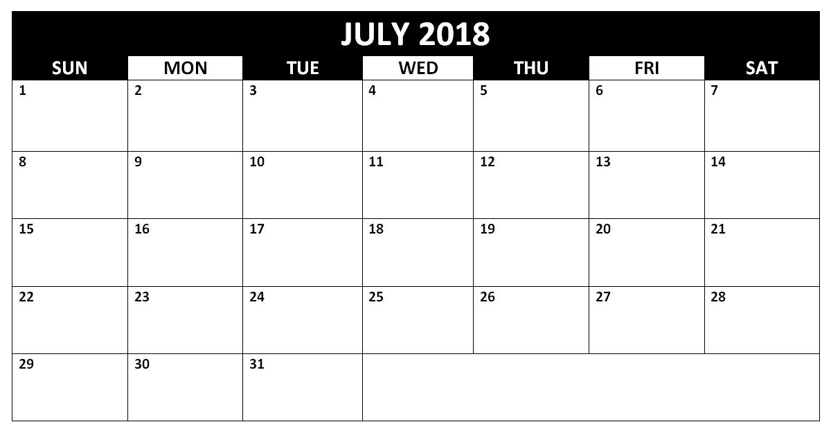 Printable Blank Calendar 2018 July Template