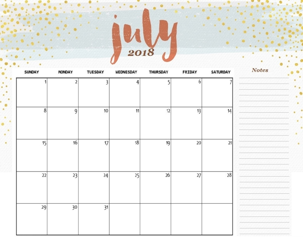 Printable Calendar for July 2018 with Notes, Printable Calendar July 2018 Cute