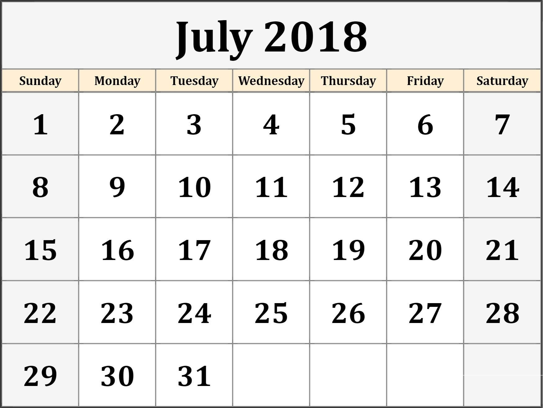 Printable July 2018 Blank Templates