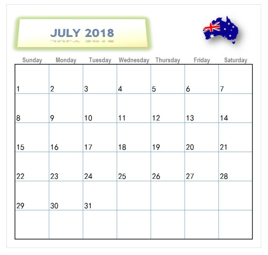 Printable July 2018 Calendar For Australia