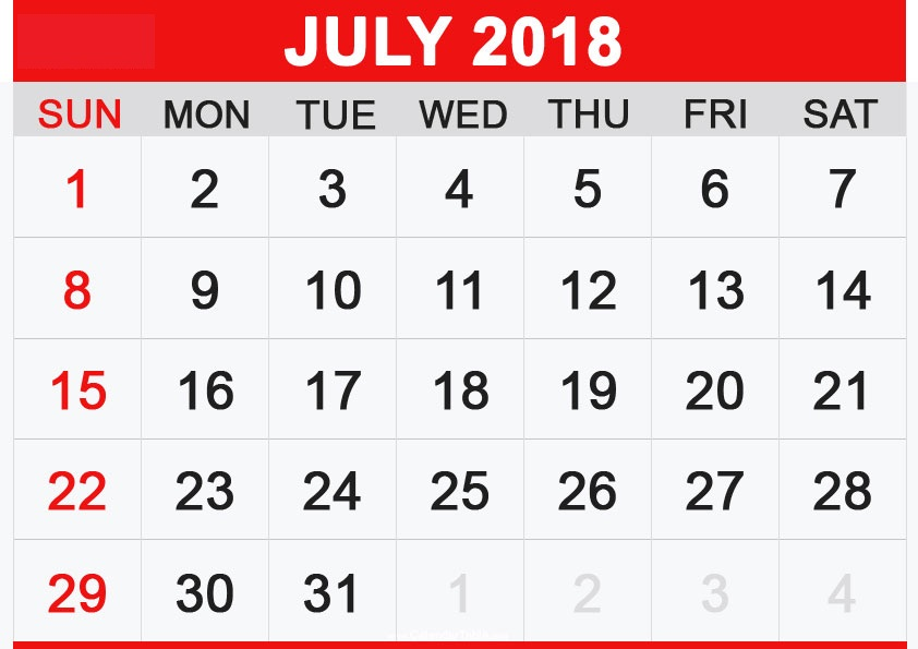 Printable July 2018 Calendar Hindu Panchang