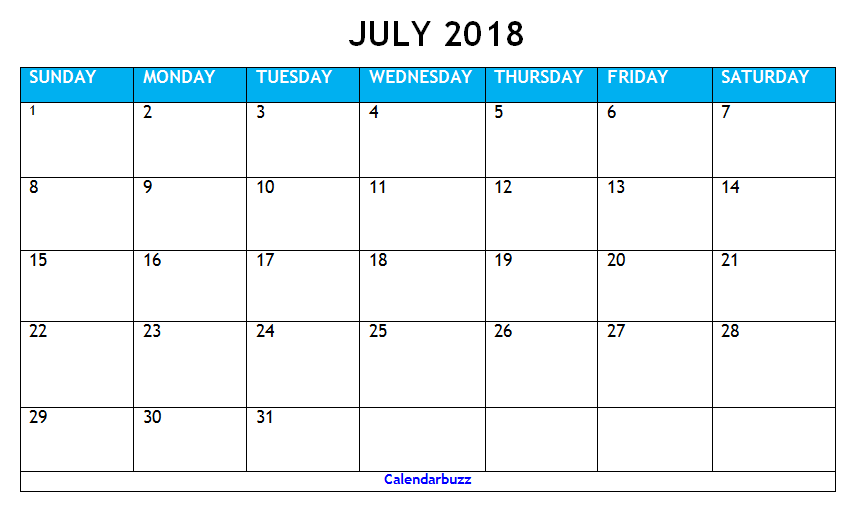 Printable July 2018 Calendar Philippines