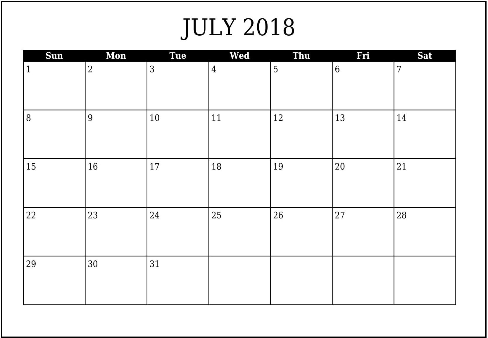 Printable July 2018 Calendar Template