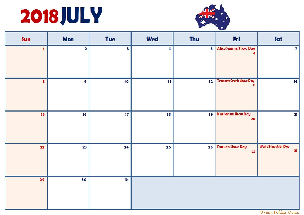 Printable July 2018 Calendar With Notes
