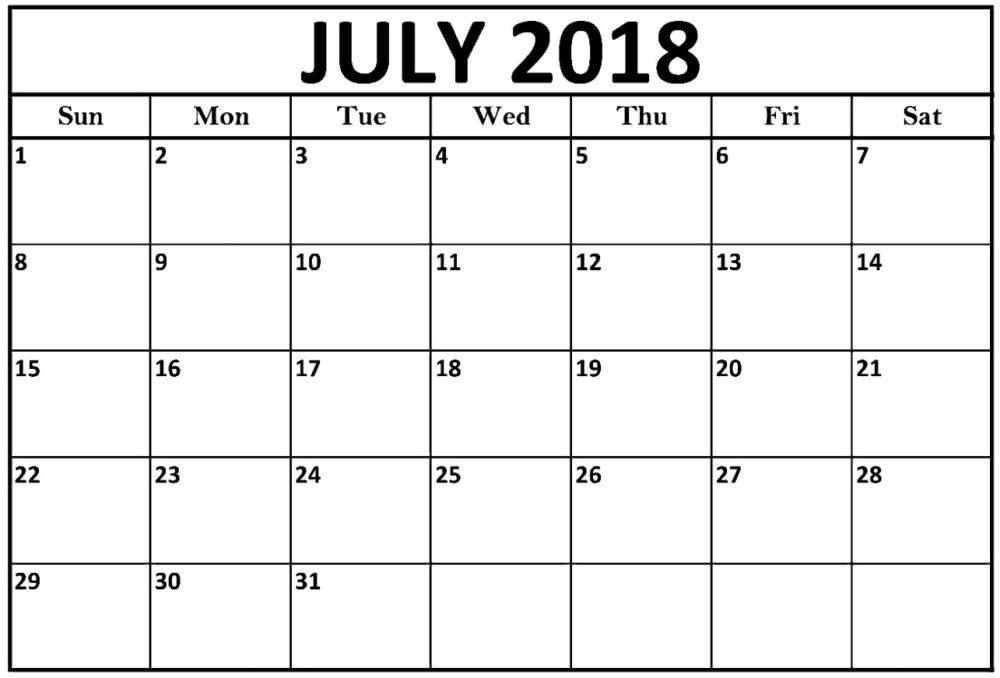 Printable July 2018 Calendar Word