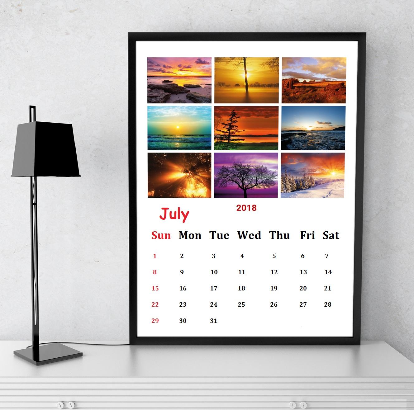 Printable July 2018 Poster Wall Calendar