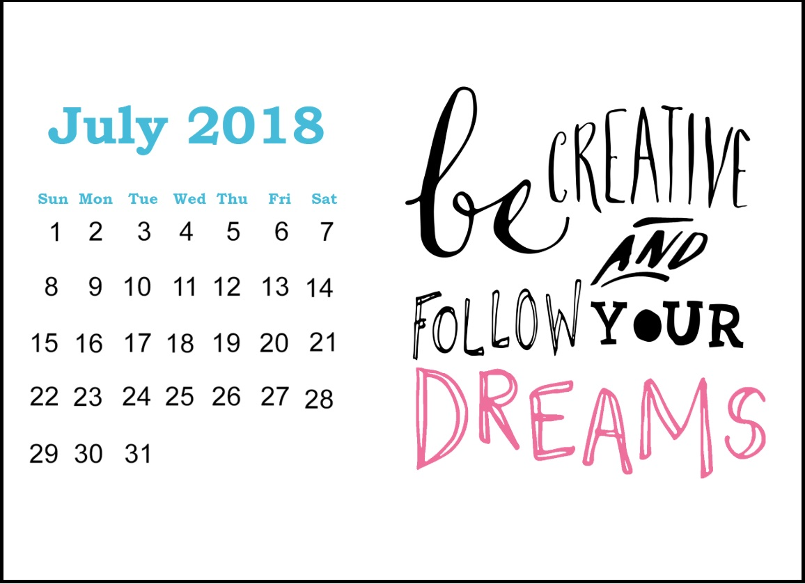 Printable July 2018 Quotes Calendar