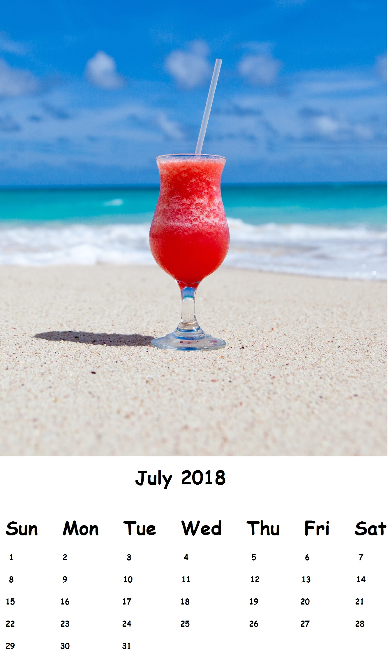 Printable July 2018 Wall Calendar Download