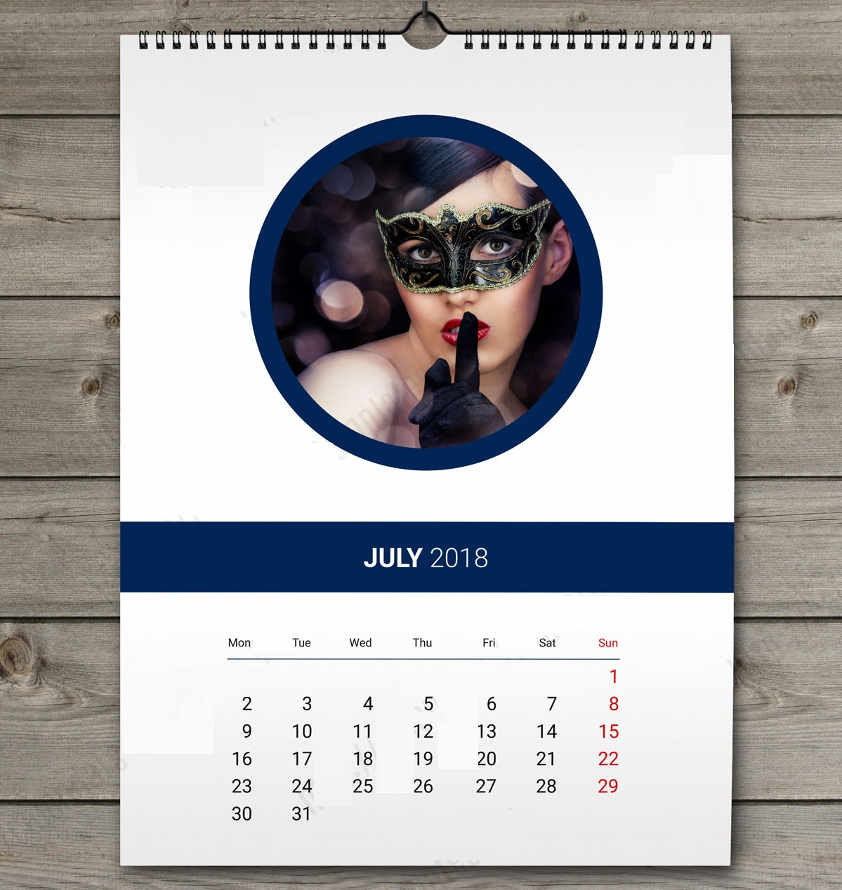 Printable July 2018 Wall Calendar