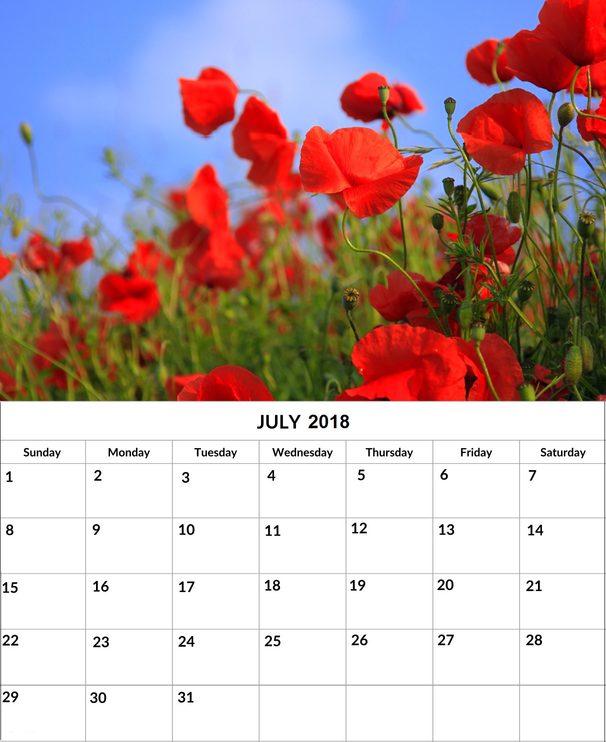 Printable July 2018 Wall Floral Calendar