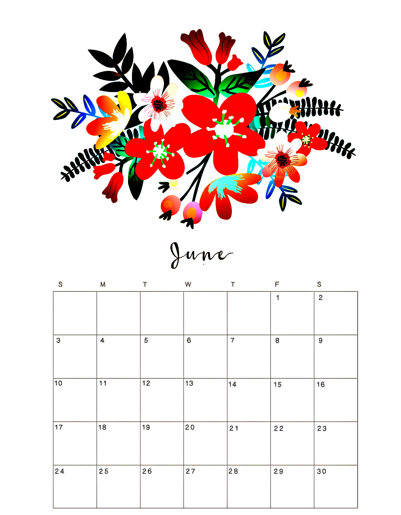 Printable June 2018 Floral Desk Calendar