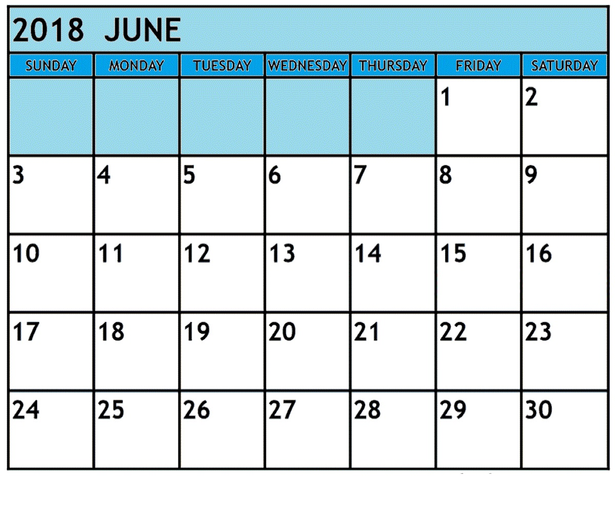 Printable June 2018 Waterproof Calendar