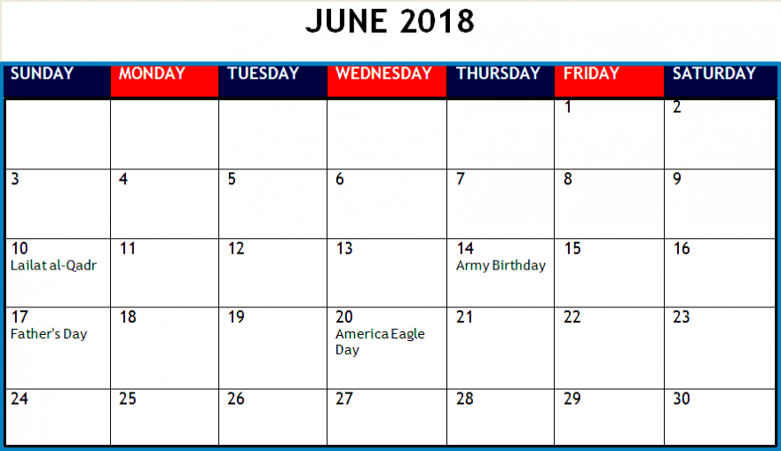Printable June Calendar 2018 Images