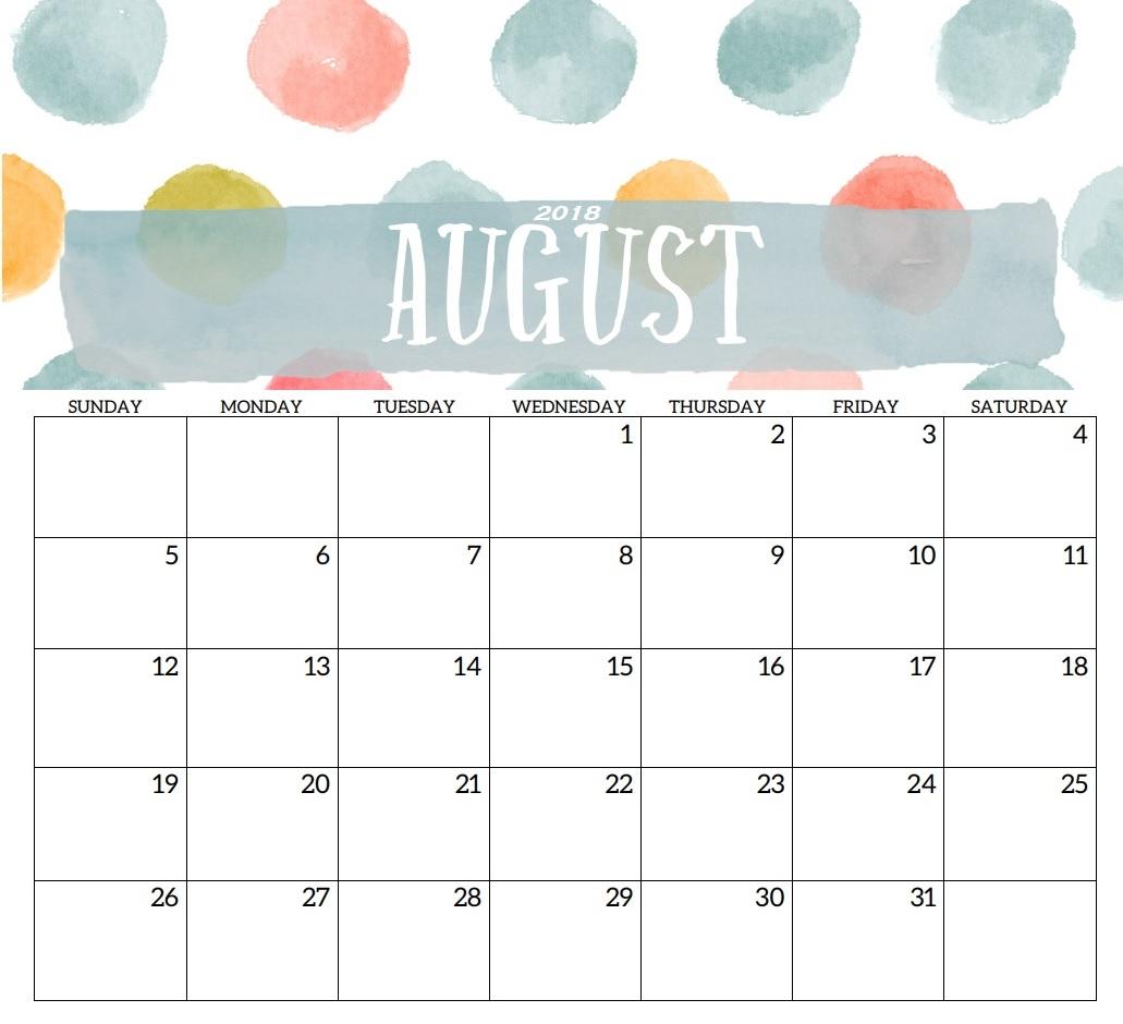 Printable USA August 2018 Holidays Calendar