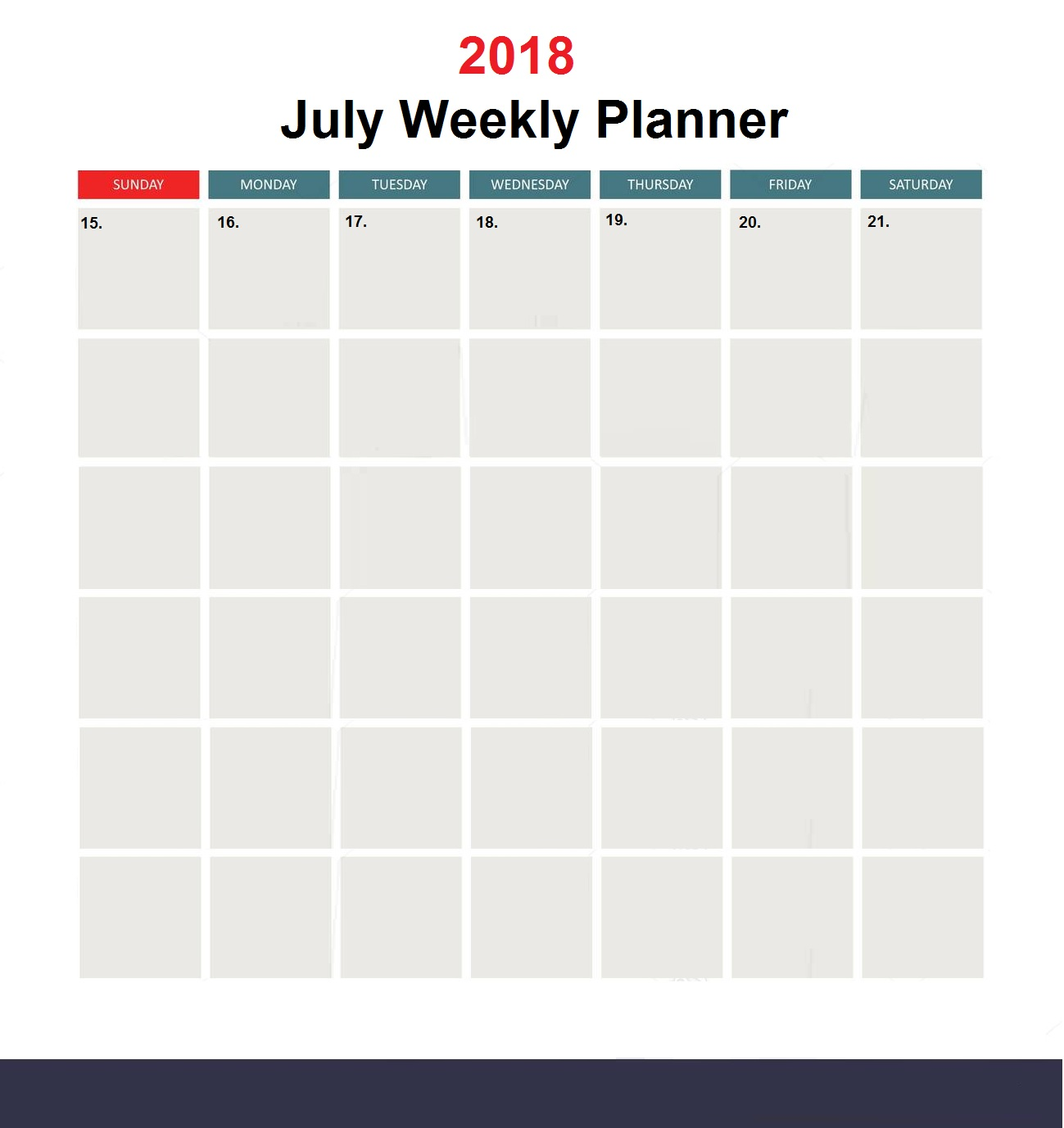 Printable Weekly July 2018 Planner Calendar