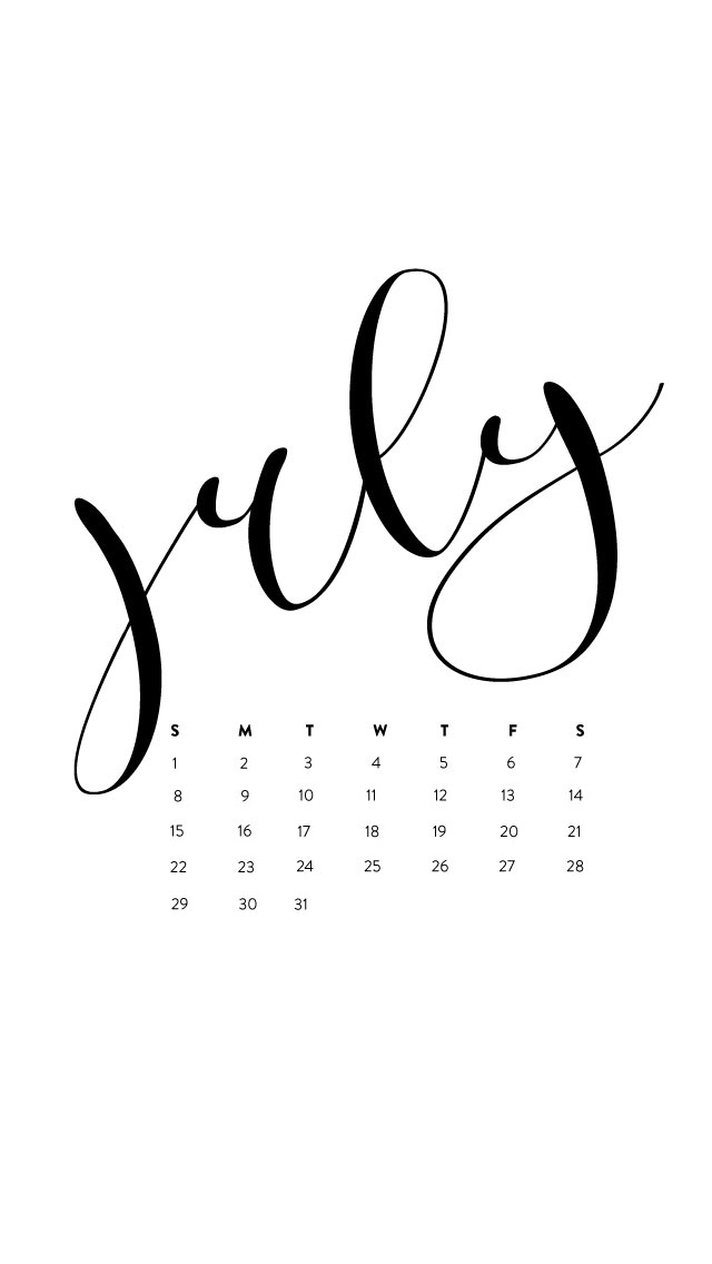 Simple July 2018 iPhone Calendar Wallpaper