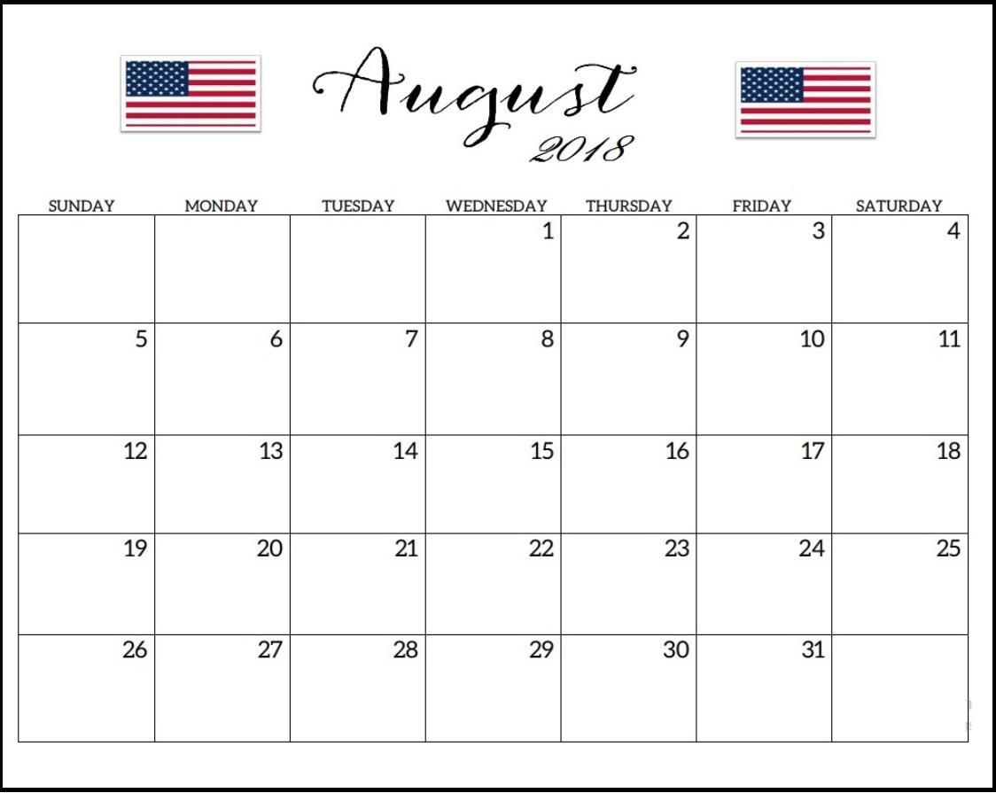 USA August 2018 Blank Holidays Calendar
