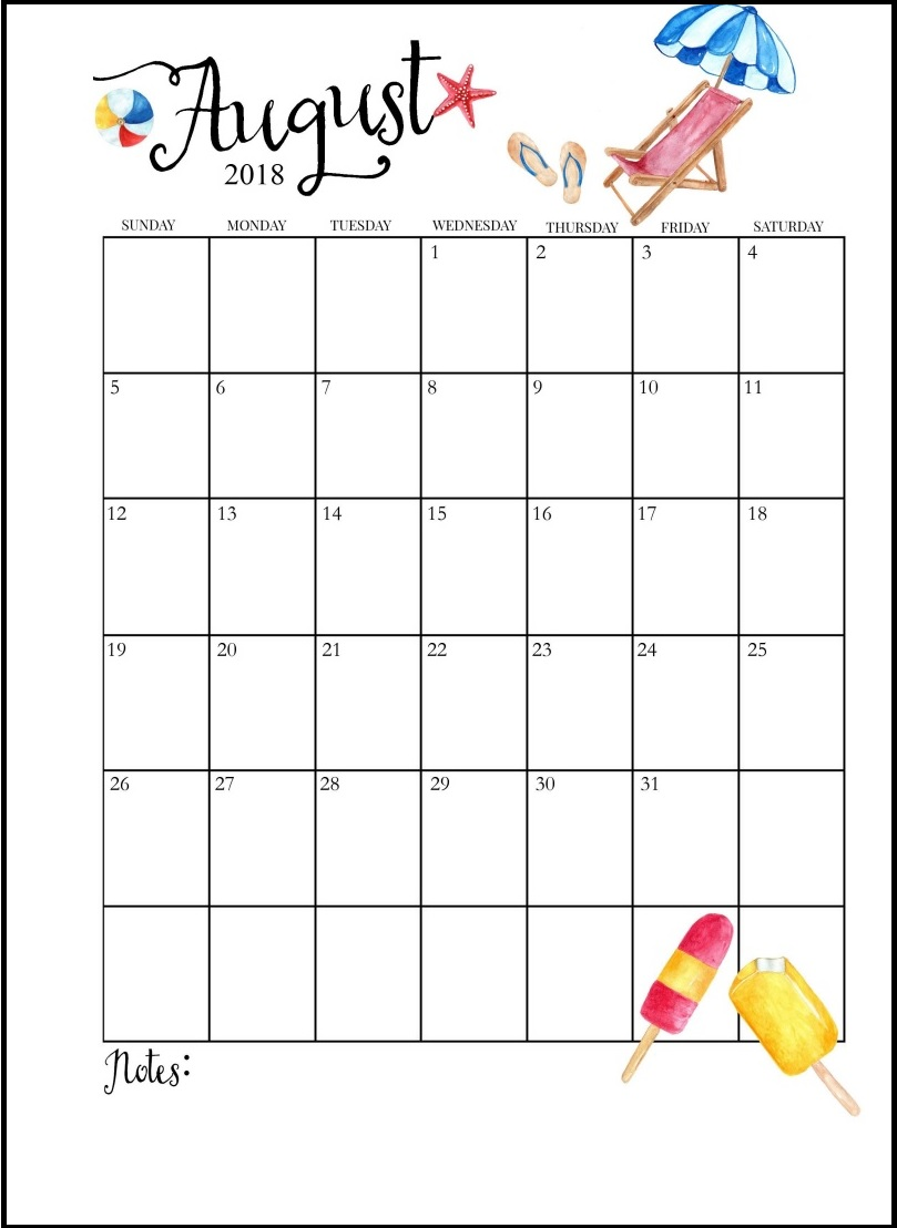 USA August 2018 Holidays Calendar Designs