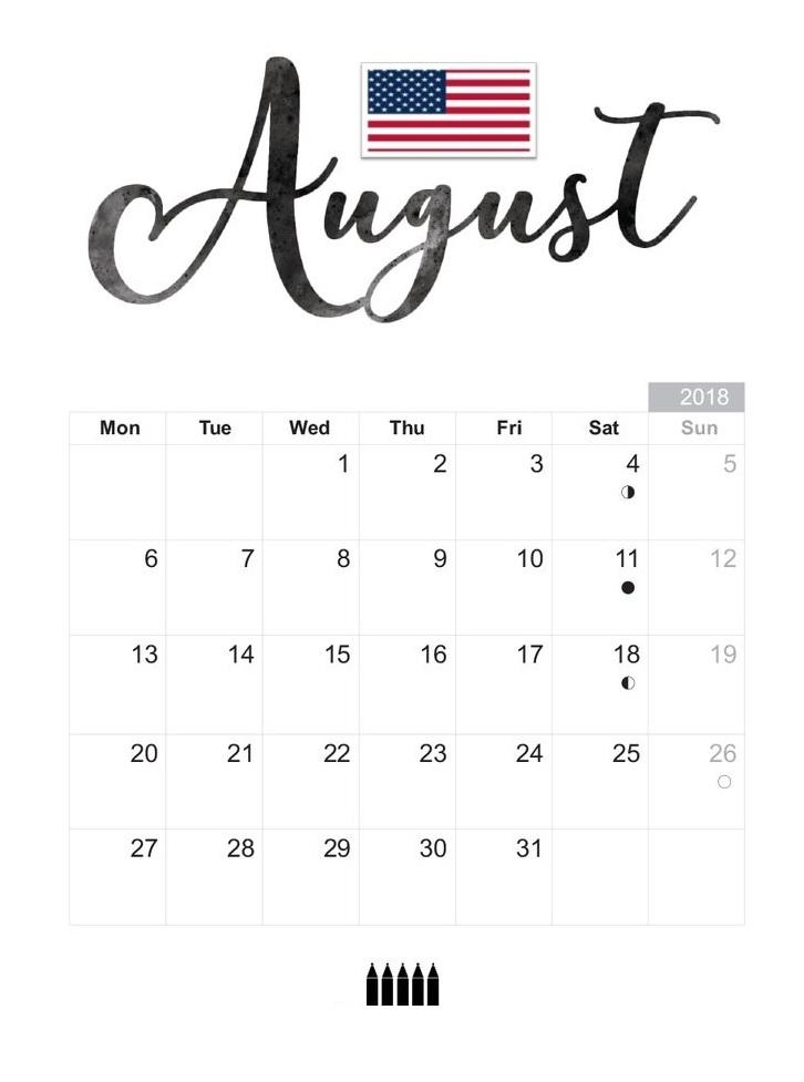 USA August 2018 Holidays Calendar Download