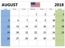 USA August 2018 Holidays Calendar Planner