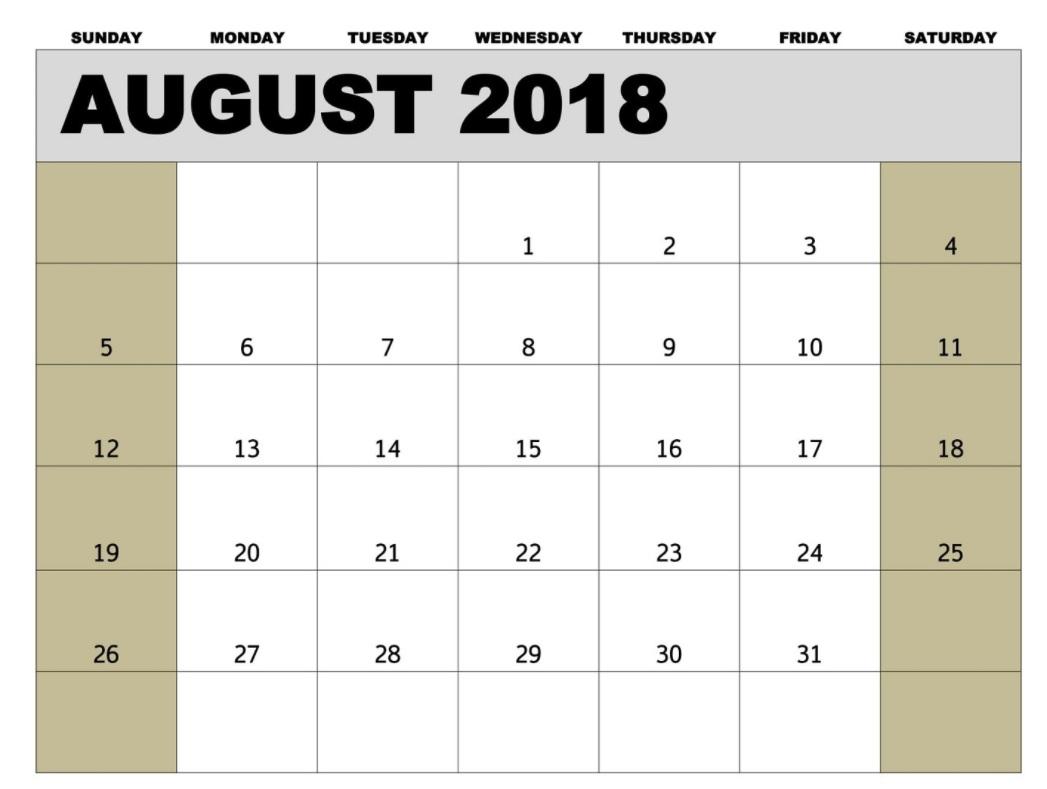 USA August 2018 Holidays Calendar Template