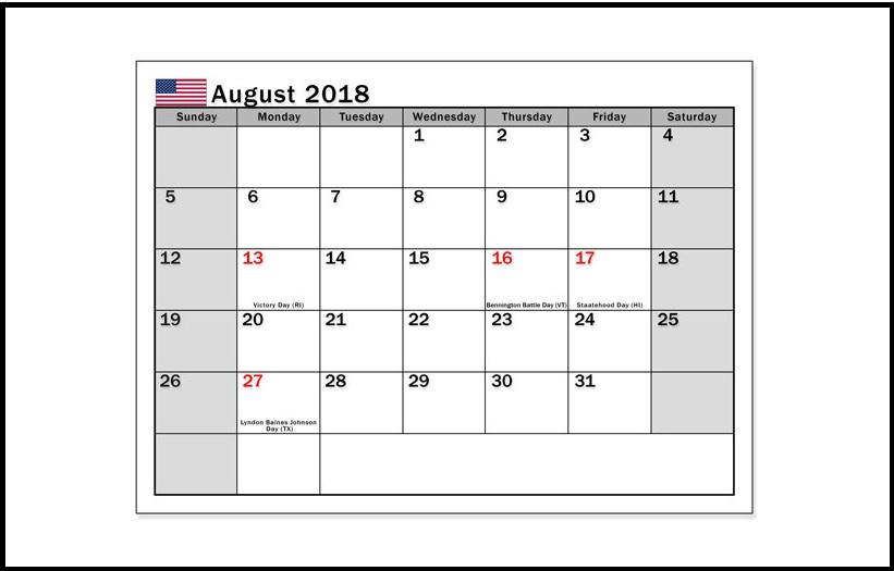 USA August 2018 Holidays Calendar