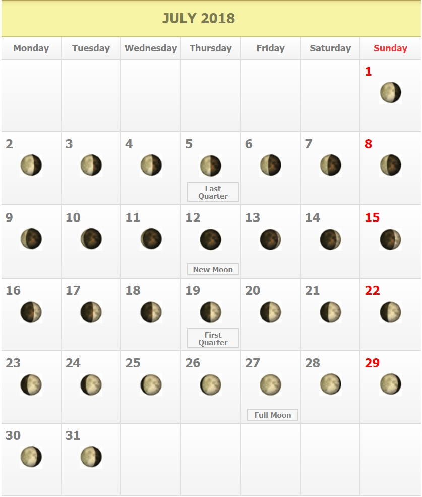 View Full July 2018 Moon Phases Calendar