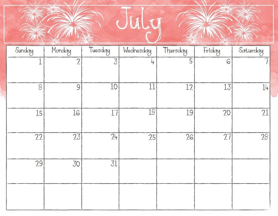 Watercolor Editable July 2018 Calendar