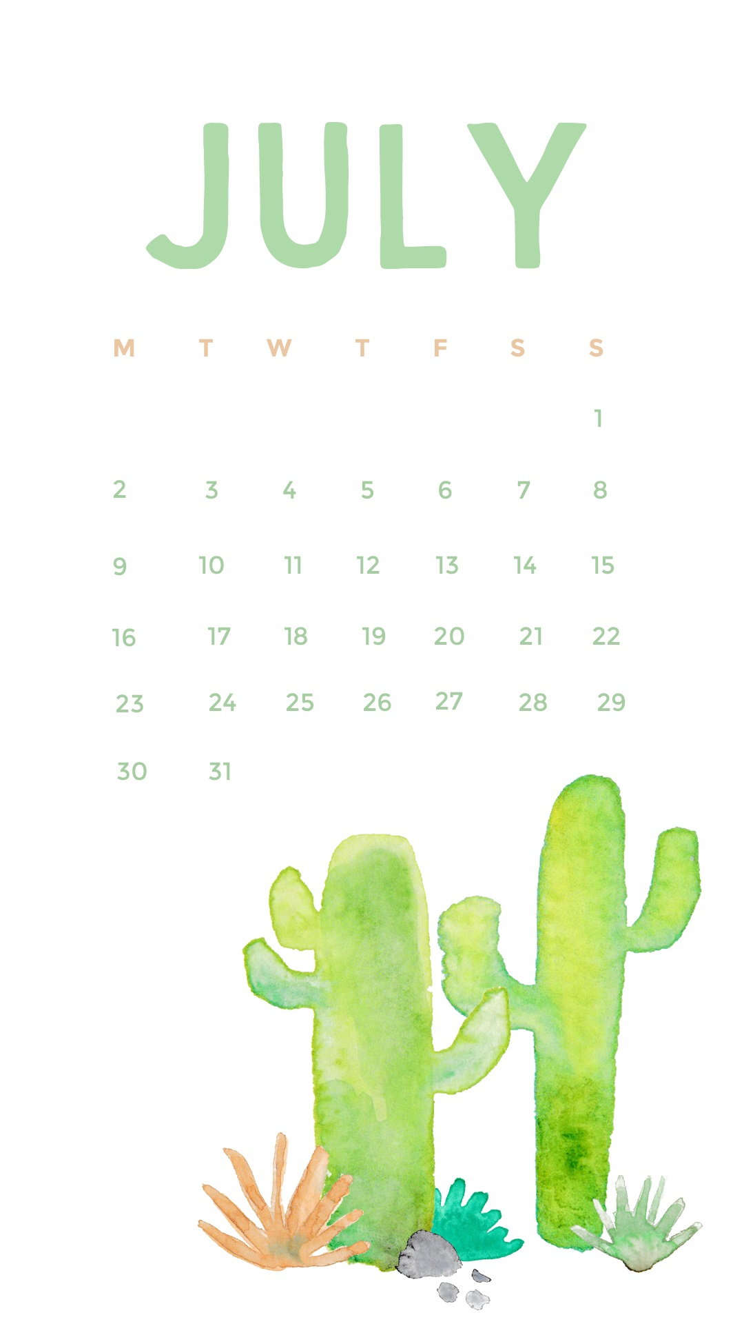 Watercolor July 2018 iPhone Calendar