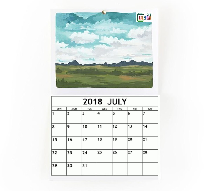 Watercolor Personalized July 2018 Calendar