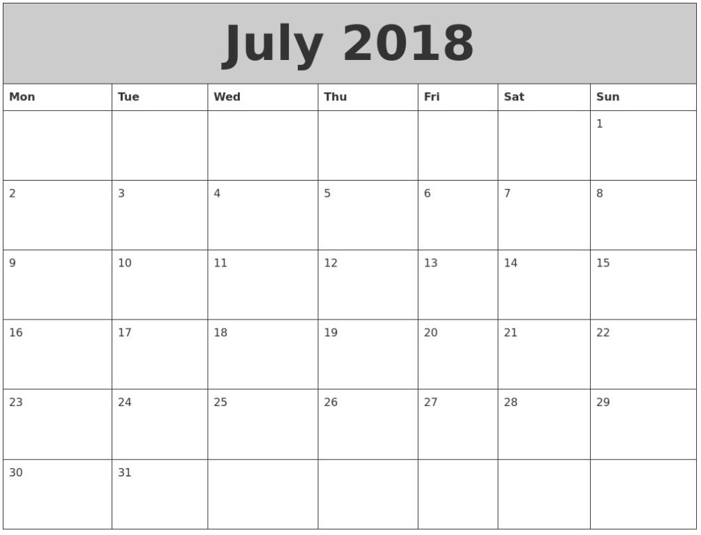 Waterproof July 2018 Blank Calendar