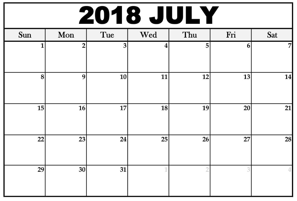 Waterproof July 2018 Calendar