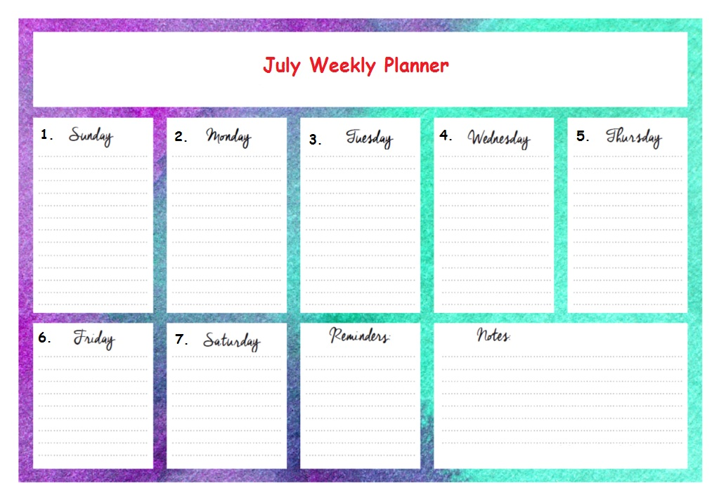 Weekly July 2018 Planner Calendar