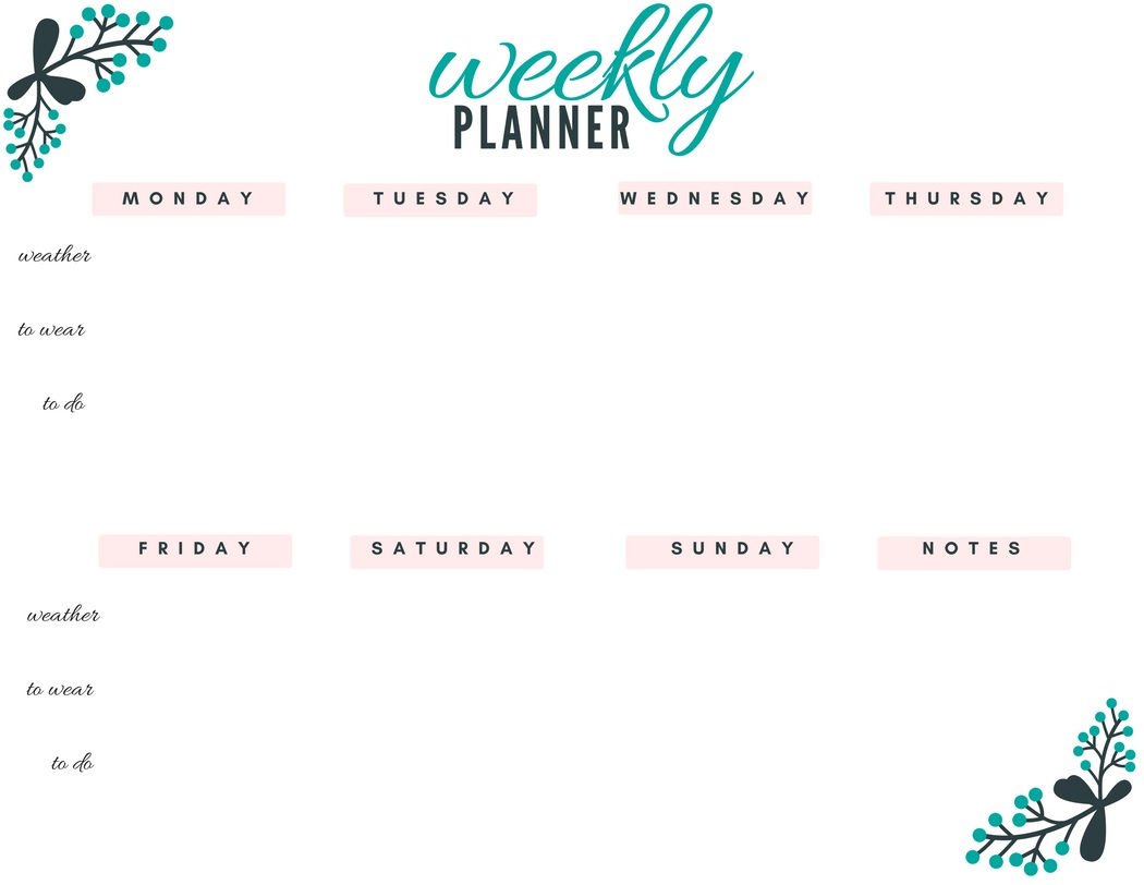 Weekly July 2018 Workout Planner
