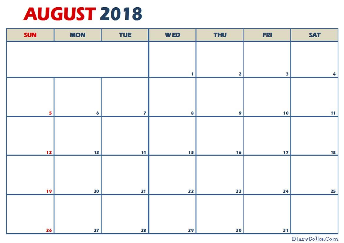 2018 August Calendar Excel