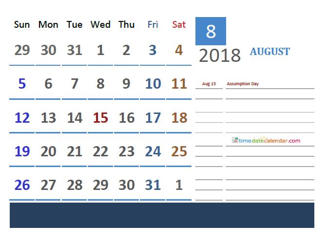 2018 August Calendar France