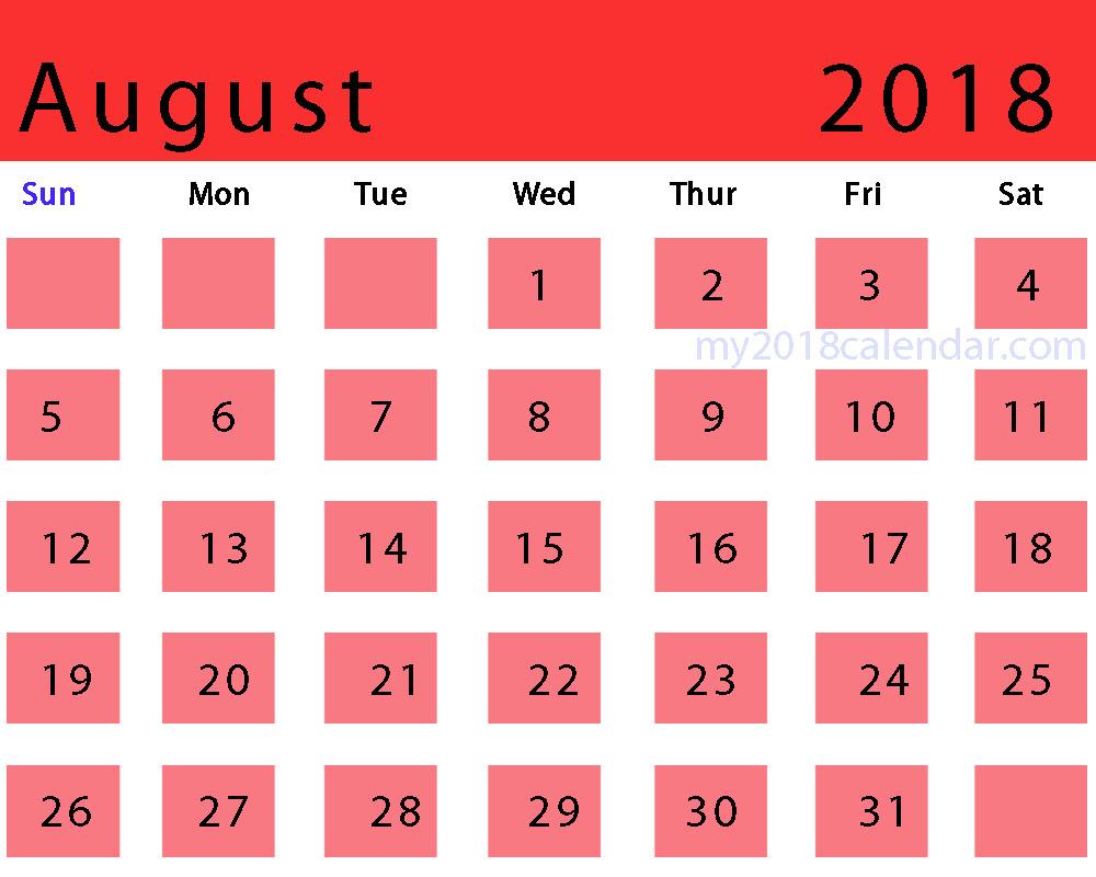 2018 August Calendar Pink